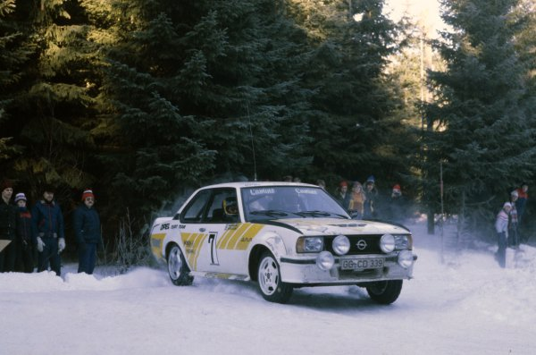 1980 World Rally Championship.Swedish Rally, Sweden. 15-17 February 1980.Anders Kullang/Bruno Berglund (Opel Ascona 400), 1st position.World Copyright: LAT PhotographicRef: 35mm transparency 80RALLY02