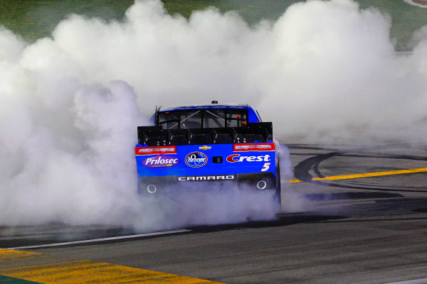 26-27 June, 2014, Sparta, Kentucky USA Kyle Busch, Monster Energy Toyota Camry celebrates his win with a burnout ?2014, Russell LaBounty LAT Photo USA