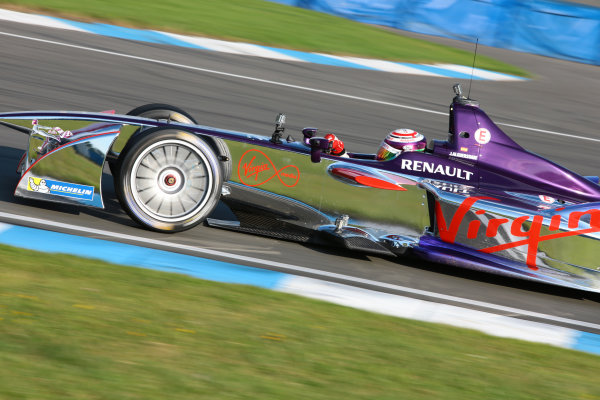 FIA Formula E Test Day, Donington Park, UK.  19th August 2014. Jaime Alguersuari, Virgin Racing. Photo: Malcolm Griffiths/FIA Formula E ref: Digital Image F80P9938