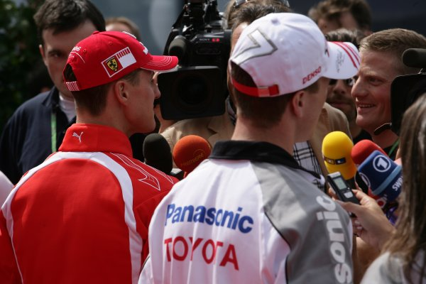 2006 European Grand Prix - Thursday PreviewNurburgring, Germany. 4th - 7th April 2006Michael Schumacher, Ferrari 248 F1 and Ralf Schumacher, Toyota TF106 face the media.World Copyright: Charles Coates/LAT Photographic ref: Digital Image ZK5Y0893