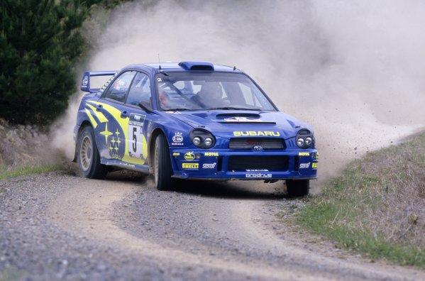 2001 World Rally Championship.New Zealand Rally, New Zealand. 21-23 September 2001.Richard Burns/Robert Reid (Subaru Impreza WRC), 1st position.World Copyright: LAT PhotographicRef: 35mm transparency 01RALLY10