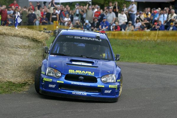 2004 FIA World Rally Champs. Round ten, OMV Deutschland Rally.19th - 22nd August 2004.Petter Solberg, Subaru, action.World Copyright: McKlein/LAT
