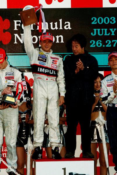2003 Formula Nippon ChampionshipSugo, Japan. 27th July 2003.Race podium.World Copyriht: Yasushi Ishihara/LAT Photographicref: Digital Image Only