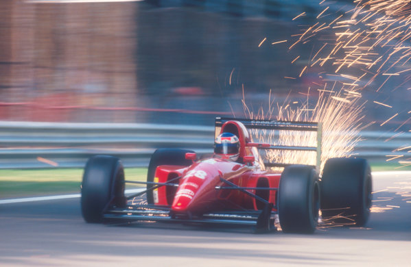 Monza, Italy.11-13 September 1992.Ivan Capelli (Ferrari F92AT) sends the sparks flying.Ref-92 ITA 07.World Copyright - LAT Photographic