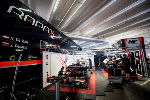 2017 FIA Formula 2 Round 3. Monte Carlo, Monaco. Wednesday 24 May 2017. Mechanics prepare the cars of Nyck De Vries (NED, Rapax) and Johnny Cecotto Jr. (VEN, Rapax)  Photo: Zak Mauger/FIA Formula 2. ref: Digital Image _56I4643