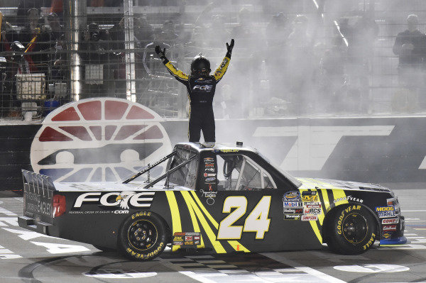 #24: Justin Haley, GMS Racing, Chevrolet Silverado Fraternal Order Of Eagles celebrates his win