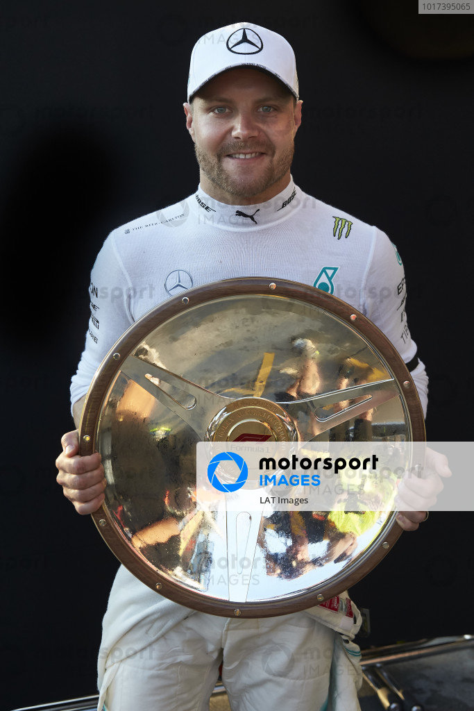 Valtteri Bottas, Mercedes AMG F1, 1st position, with his trophy