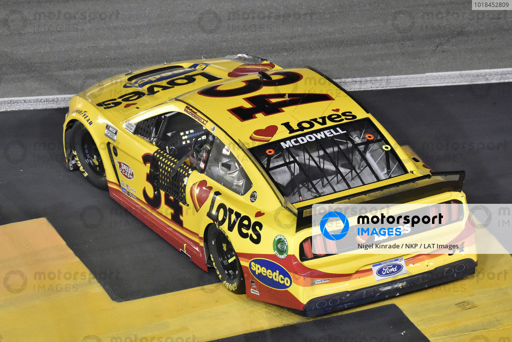#34: Michael McDowell, Front Row Motorsports, Ford Mustang Love's Travel Stops celebrates his win