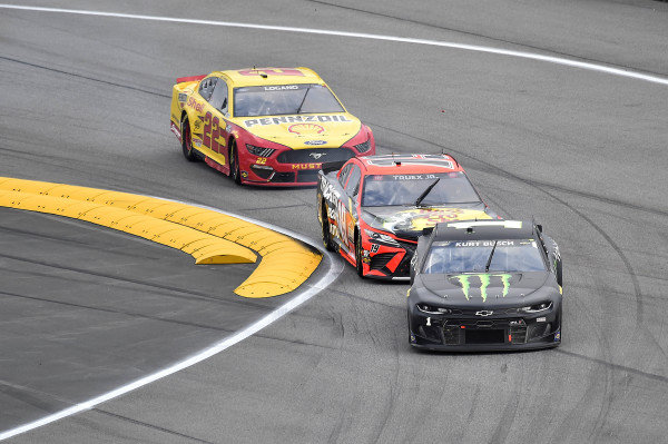 #1: Kurt Busch, Chip Ganassi Racing, Chevrolet Camaro Monster Energy, #19: Martin Truex Jr., Joe Gibbs Racing, Toyota Camry Bass Pro Shops, and #22: Joey Logano, Team Penske, Ford Mustang Shell Pennzoil