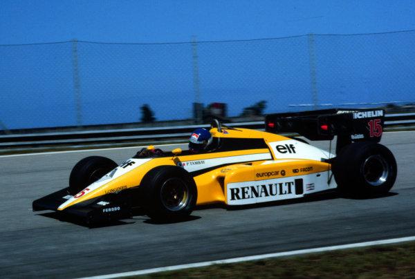1984 Brazilian Grand Prix.Jacarepagua, Rio de Janeiro, Brazil.23-25 March 1984.Patrick Tambay (Renault RE50) 5th position.World Copyright - LAT Photographic