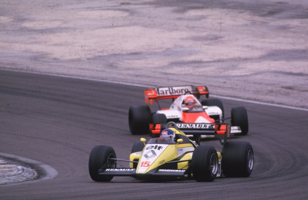 1984 French Grand Prix.Dijon-Prenois, France.18-20 May 1984.Patrick Tambay (Renault RE50) 2nd position.World Copyright - LAT Photographic