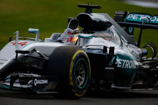 Silverstone, Northamptonshire, UK Friday 8 July 2016. Lewis Hamilton, Mercedes F1 W07 Hybrid, waves to the fans. World Copyright: Hone/LAT Photographic ref: Digital Image _ONY8041