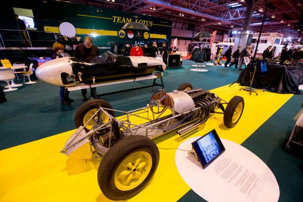 Autosport International Exhibition.  National Exhibition Centre, Birmingham, UK. Thursday 14 January 2016.  The Team Lotus stand. World Copyright: Zak Mauger/LAT Photographic. ref: Digital Image _L0U1264