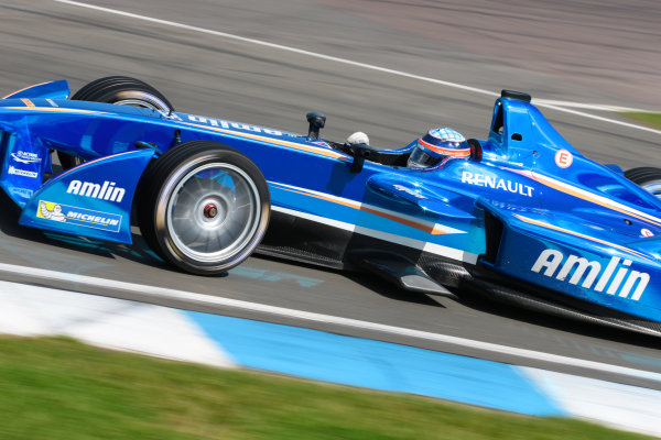 FIA Formula E Test Day, Donington Park, UK.  19th August 2014. Takuma Sato, Amlin Aguri. Photo: Malcolm Griffiths/FIA Formula E ref: Digital Image F80P9733