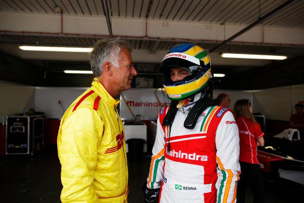 FIA Formula E Test Day, Donington Park, UK.  3rd - 4th July 2014.  Christian Danner and Bruno Senna, Mahindra Racing. Photo: Zak Mauger/FIA Formula E ref: Digital Image _P7T1090