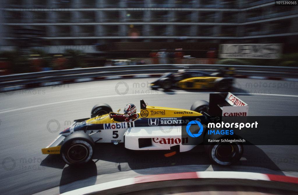 Nigel Mansell, Williams FW11 Honda, during practice.