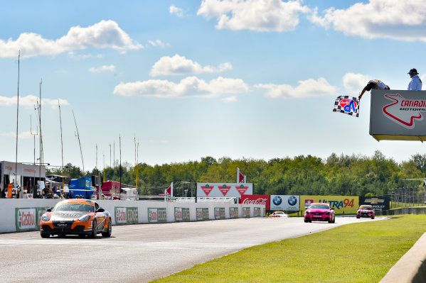 IMSA Continental Tire SportsCar Challenge Mobil 1 SportsCar Grand Prix Canadian Tire Motorsport Park Bowmanville, ON CAN Saturday 8 July 2017 56, Porsche, Porsche Cayman, ST, Jeff Mosing, Eric Foss, checkered flag, win, winner, finish line World Copyright: Scott R LePage/LAT Images