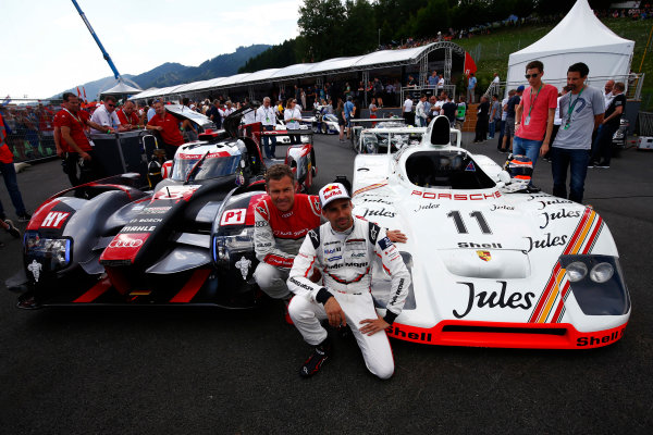 Red Bull Ring, Spielberg, Austria. Saturday 08 July 2017. Tom Kristensen and Neel Jani at the Legends Parade. World Copyright: Andy Hone/LAT Images ref: Digital Image _ONZ0785