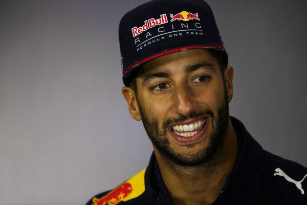 Silverstone, Northamptonshire, UK.  Thursday 13 July 2017. Daniel Ricciardo, Red Bull Racing, in the Thursday press conference. World Copyright: Charles Coates/LAT Images  ref: Digital Image DJ5R0723
