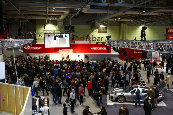 Autosport International Exhibition. National Exhibition Centre, Birmingham, UK. Sunday 14th January 2018. A scenic view of the show, with Nigel Mansell on the Autosport Stage. World Copyright: Mike Hoyer/JEP/LAT Images Ref: AQ2Y9961