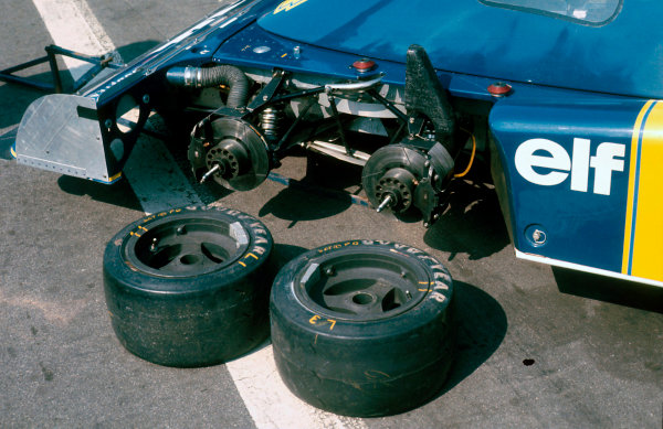 Brands Hatch, England. 16th - 18th July 1976.  The front two wheels of the Tyrrell P34 Ford in the paddock, action.  World Copyright: LAT Photographic.  Ref: 76 GB 18.