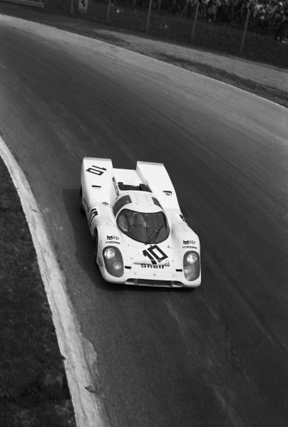1970 Monza 1000 kms. Monza, Italy. 25th April 1970. Rd 4. Vic Elford/ Kurt Ahrens, Jr. (Porsche 917K), retired, action.  World Copyright: LAT Photographic.  Ref: 3008 - 20.