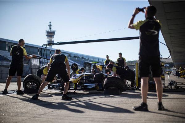 2017 FIA Formula 2 Round 10. Circuito de Jerez, Jerez, Spain. Thursday 5 October 2017. Pit stop practice with Nicholas Latifi (CAN, DAMS) car. Photo: Andrew Ferraro/FIA Formula 2. ref: Digital Image _FER8087