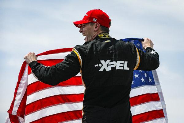 #2: Josef Newgarden, Team Penske Chevrolet celebrates winning the The Honda Indy 200 at Mid-Ohio