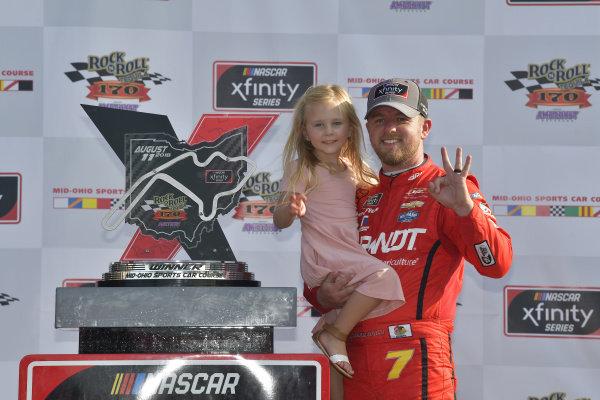 #7: Justin Allgaier, JR Motorsports, Chevrolet Camaro BRANDT Professional Agriculture, victory lane, celebrates