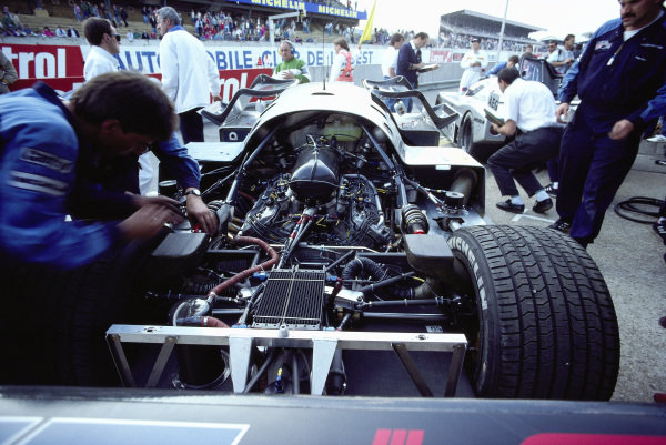 The Sauber-Mercedes C9/88 of Jean-Louis Schlesser / Jean-Pierre Jabouille / Alain Cudini, is worked on in the pits.