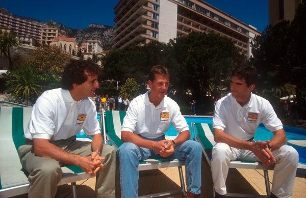 1993 Monaco Grand Prix.Monte Carlo, Monaco.20-23 May 1993.Alain Prost (Williams Renault) with Michael Schumacher (Benetton Ford) and Damon Hill (Williams Renault). Ref-93 MON 22.World Copyright - LAT Photographic