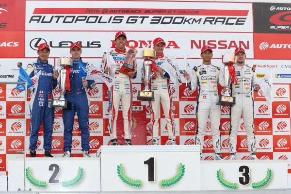 GT500 winner Heikki Kovalainen & Yuichi Nakayama ( #39 DENSO KOBELCO SARD LC500 ) 2nd position Koudai Tsukakoshi & Bertrand Baguette ( #17 KEIHIN NSX-GT ) 3rd position Ryo Hirakawa & Nick Cassidy ( #37 KeePer TOM'S LC500 )