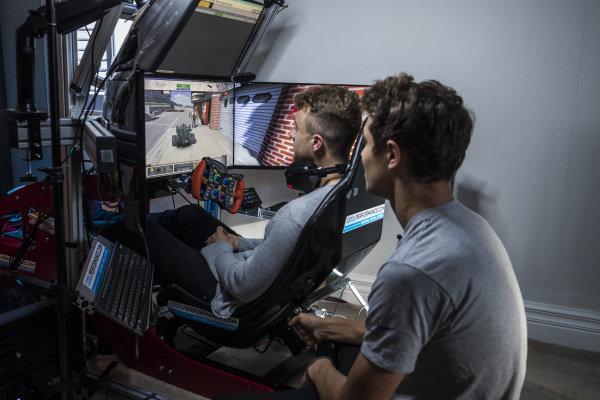 Autosport journalist Jack Benyon drives a lap of Interlagos on Lando Norris' simulator