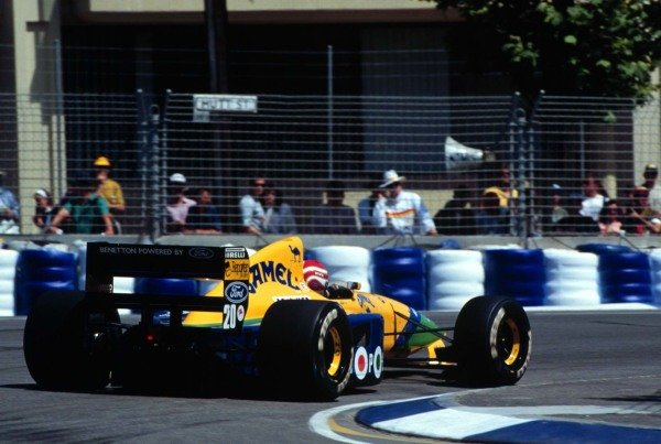 1991 Australian Grand Prix.Adelaide, Australia.3 November 1991.Nelson Piquet (Benetton B191 Ford) 4th position in his last Grand Prix. Ref: 91AUS42. World Copyright - LAT Photographic