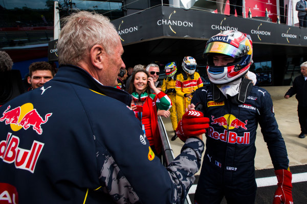 2016 GP2 Series Round 5 Silverstone, Northamptonshire, UK. Saturday 9 July 2016. Helmut Marko congratulates Pierre Gasly (FRA, PREMA Racing)  Photo: Sam Bloxham/GP2 Series Media Service. ref: Digital Image _SBB1884