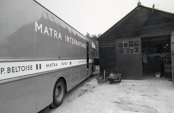 The Matra International transporter outside the workshop. The Tyrrell/Matra workshop was a woodshed, formerly belonging to the Tyrrell Brothers business. Formula One Features, Matra Factory, Ockham, Kent, England, 1969.