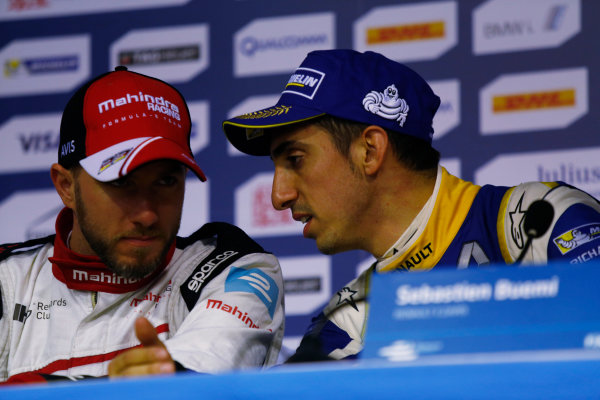 FIA Formula E Championship 2015/16. Beijing ePrix, Beijing, China. Nick Heidfeld (GER), Mahindra Racing M2ELECTRO & Sebastien Buemi (SUI), Renault e.Dams Z.E.15  Press Conference Beijing, China, Asia. Saturday 24 October 2015 Photo: Sam Bloxham / LAT / FE ref: Digital Image _SBL7963