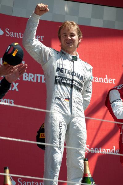 Silverstone, Northamptonshire, England 30th June 2013 Nico Rosberg, Mercedes AMG, 1st position, on the podium World Copyright: Chris Bird/  ref: Digital Image _CJB6759