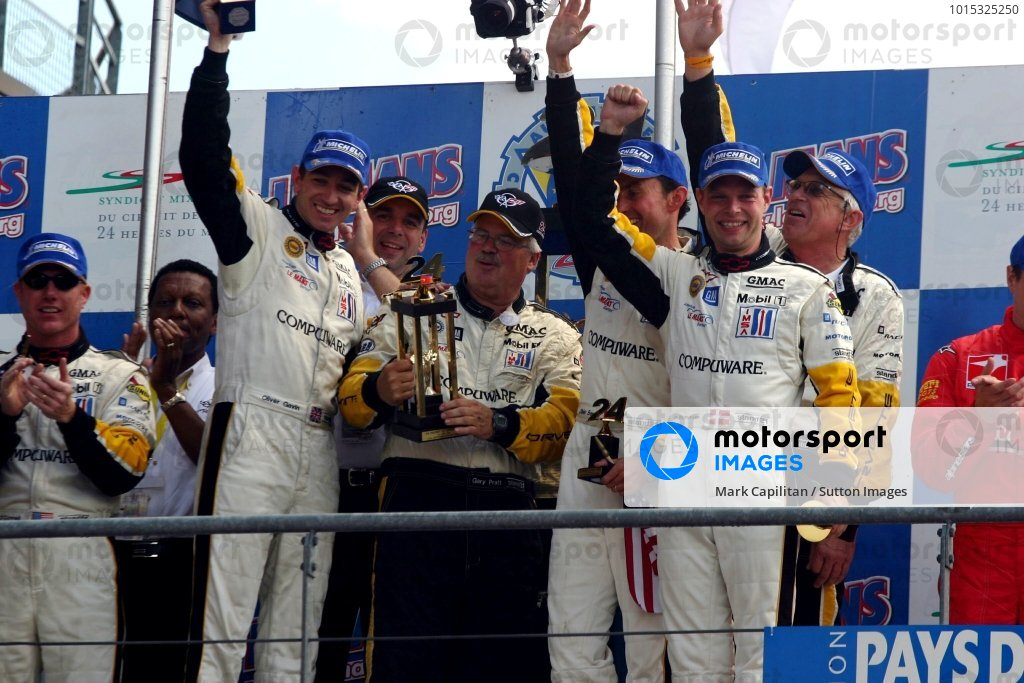 GTS winners: Oliver Gavin (GBR) / Olivier Beretta (FRA) / Jan Magnussen (DEN) Corvette Racing with Pratt & Miller chief Gary Pratt (USA).
