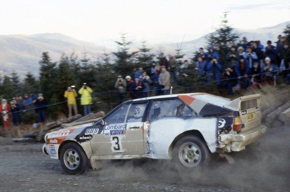 1983 World Rally Championship.Lombard RAC Rally, Great Britain. 19-23 November 1983.Stig Blomqvist/Bjorn Cederberg (Audi Quattro A2), 1st position.World Copyright: LAT PhotographicRef: 35mm transparency 83RALLY22