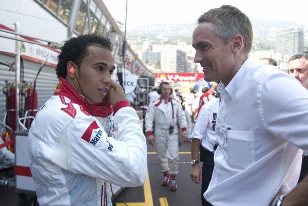 2006 GP2 Series. Round 5. Monte-Carlo, Monaco. 28th May 2006. Saturday Race. Lewis Hamilton (GBR, ART Grand Prix) and Martin Whitmarsh (CEO McLaren F1). Portrait.  World Copyright: Andrew Ferraro/GP2 Series Media Service. Ref: Digital Image Only.F0AA1830.jpg