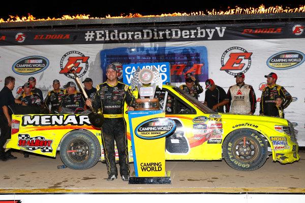 NASCAR Camping World Truck Series Eldora Dirt Derby Eldora Speedway, Rossburg, OH USA Wednesday 19 July 2017 Matt Crafton, Ideal Door / Menards Toyota Tundra celebrates in victory lane  World Copyright: Russell LaBounty LAT Images