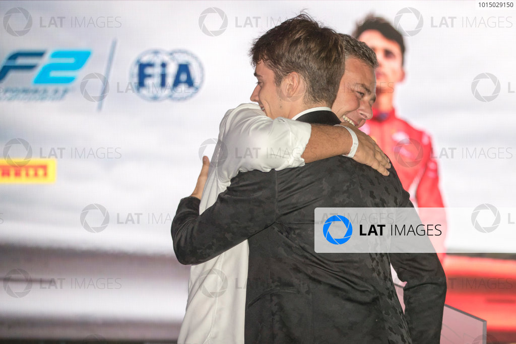 2017 Awards Evening. Yas Marina Circuit, Abu Dhabi, United Arab Emirates. Sunday 26 November 2017. Charles Leclerc (MCO, PREMA Racing).  Photo: Zak Mauger/FIA Formula 2/GP3 Series. ref: Digital Image _56I3798