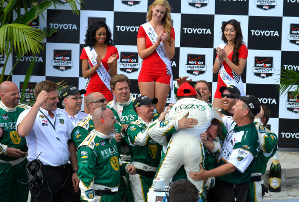 "11-13 April, 2014, Long Beach, California USA #20 Mike Conway Fuzzy""s Vodka/ Ed Carpenter Racing, race winner celebrating with crew ©2014, Dan R. Boyd Lat Photo USA"