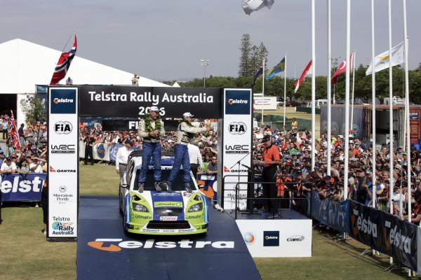 2006 FIA World Rally Champs. Round 6Rally Australia 26-29 October 2006Mikko Hirvoen, Ford, podiumWorld Copyright: McKlein/LAT