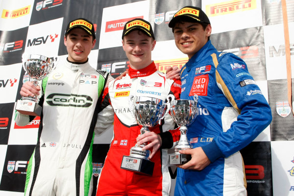 2017 BRDC Formula 3 Championship, Rockingham, England. 29th-30th April 2017, Podium, Pull, Hingeley and Das World copyright. JEP/LAT Images