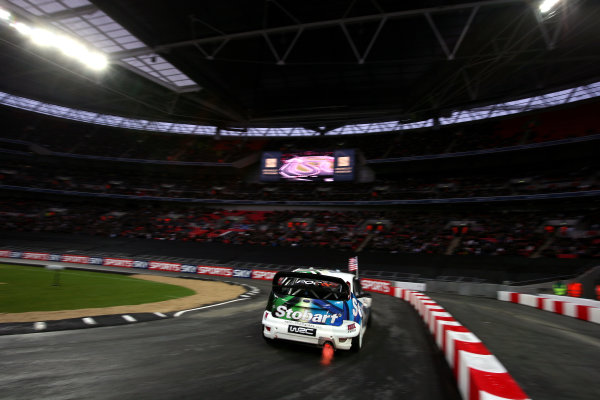 Wembley Stadium, London.  14th December 2008. RoC Nations Cup: Team USA Ford Focus WRC 08 makes a flame from it's exhaust. Action. World Copyright: Malcolm Griffiths/LAT Photographic ref: Digital Image IMG_5198