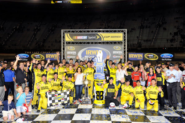23-24 August, 2013, Bristol, Tennessee USA Matt Kenseth, Dollar General Toyota Camry celebrates his win in Victory Lane ©2013, Nigel Kinrade LAT Photo USA