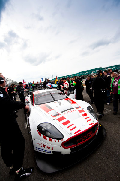 Silverstone, England. 30th April - 2nd May 2010. Darren Turner / Tomas Enge, (Young Driver AMR, Aston Martin DB9) on pole position on the grid. Action. Atmosphere. World Copyright: Drew Gibson/LAT Photographic. Digital Image _Y2Z4341