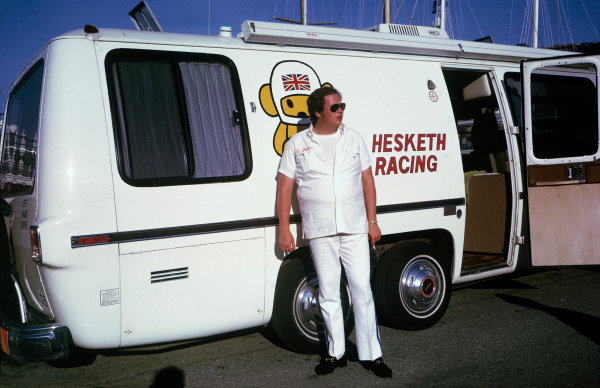 Monte Carlo, Monaco. 23rd - 26th May 1974.Lord Alexander Hesketh outside his new motorhome by the harbour, portrait.World Copyright: LAT Photographic.Ref:  Colour Transparency.